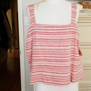 BRASS PLUMB (NORDSTROM) CAMI TOP RED WHITE  XL NWT